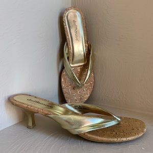 NWOT Gold and Cork Sandals by Dollhouse - Size 9